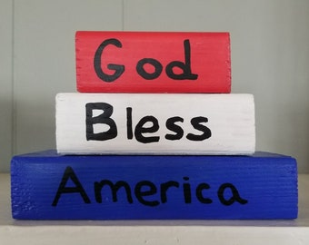 Fourth of July Decor, Fourth of July Word Blocks, Patriotic Decor, Patriotic Blocks