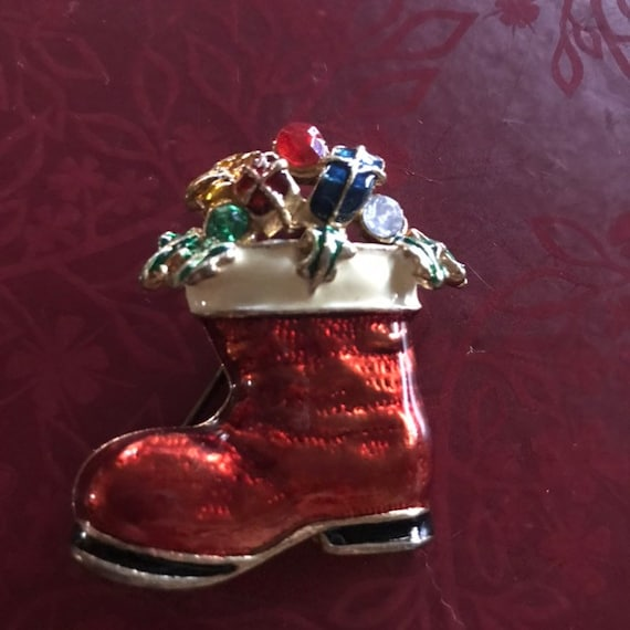 Vintage red Santa's Boot pin, Christmas presents