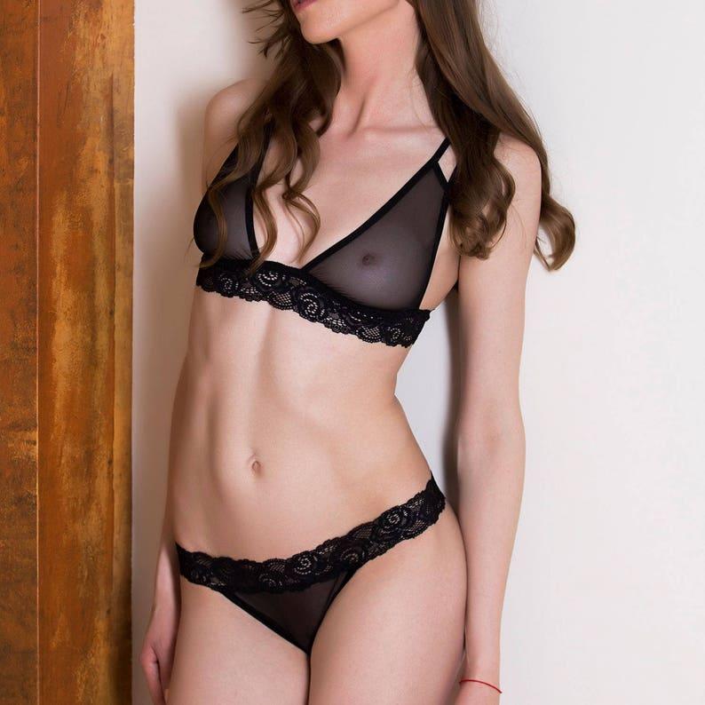 See through lingerie Black lingerie sets sheer lingerie  41edea753