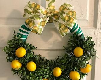 Spring Wreath, Summer Wreath, Lemon Wreath, Citrus Wreath, Boxwood Wreath, Home Decor, Wall Decor, Mother's Day, Kitchen Decor