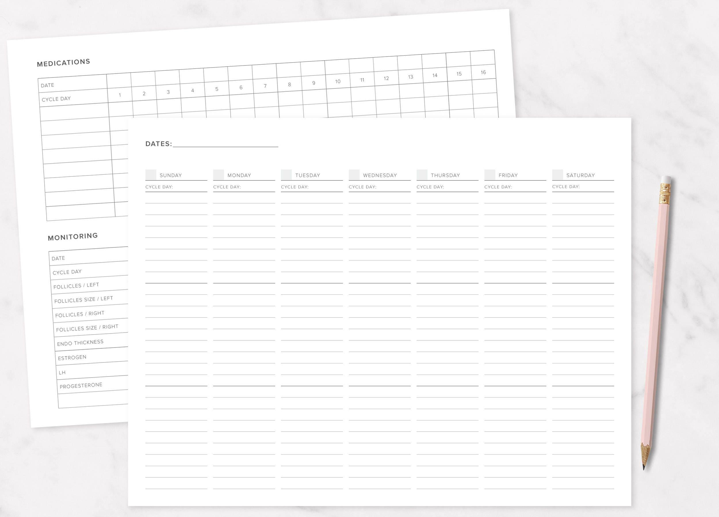 IVF / IUI Medication & Monitoring Weekly Calendar Printable | TTC, Undated  Weekly Planner