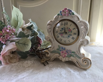 New Vintage Style Blue//White Distressed Table Carriage Clock Shabby Chic