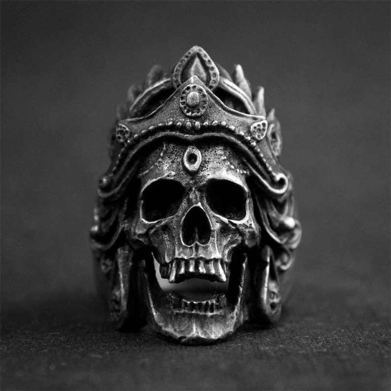 Stainless Steel Large Warrior Emperor Skull Ring image 0
