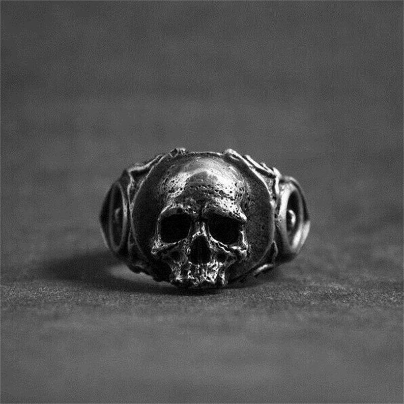 Stainless Steel Large Chunky 3D Skull Ring Biker Punk Gothic image 0