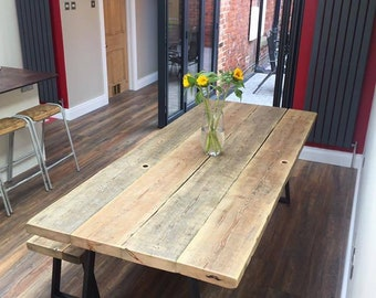 Reclaimed timber dining room table