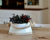 Minimalist Double Planter with Rope, Ceramic Hanging Plant Pot, Handmade Oval Pottery Pot