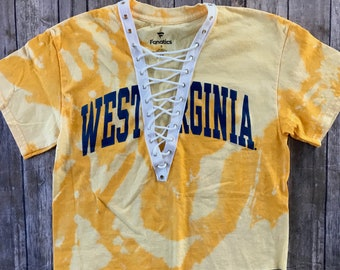 c43311722 West Virginia University Lace Up Tee   WVU shirt   Mountaineers Apparel    WVU Tee   Tailgate shirts   Game Day Tops