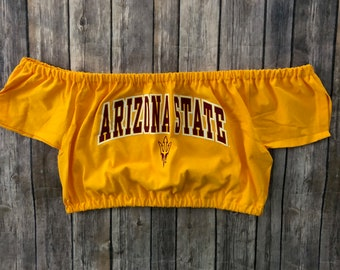0c748759a2 Arizona State Off The Shoulder Top   Game Day Crop Top   Tailgate Shirt    Game Day Clothing  Arizona Wildcats  College Tube Top