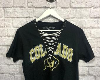 free shipping 5e836 a2d69 University of Colorado Boulder Lace Up Short Sleeve Shirt   Buffaloes   Colorado  Buffs   Graduation Gift   Tailgate clothing