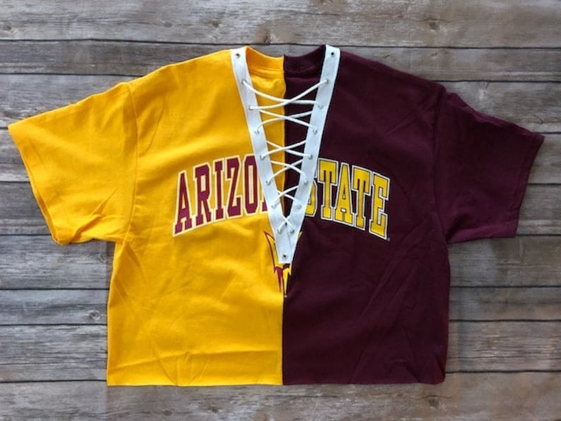 3112617284 ASU 1 2   1 2 Lace Up Tee   Sun Devils   Tailgate Crop Top