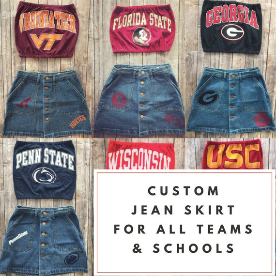 c76bf31153 Custom College Jean Skirt / University Skirt / Tailgate Skirt | Etsy