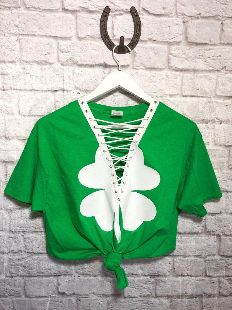 159a20afc St. Patricks Day Single Shamrock Lace Up Shirt / Women's | Etsy