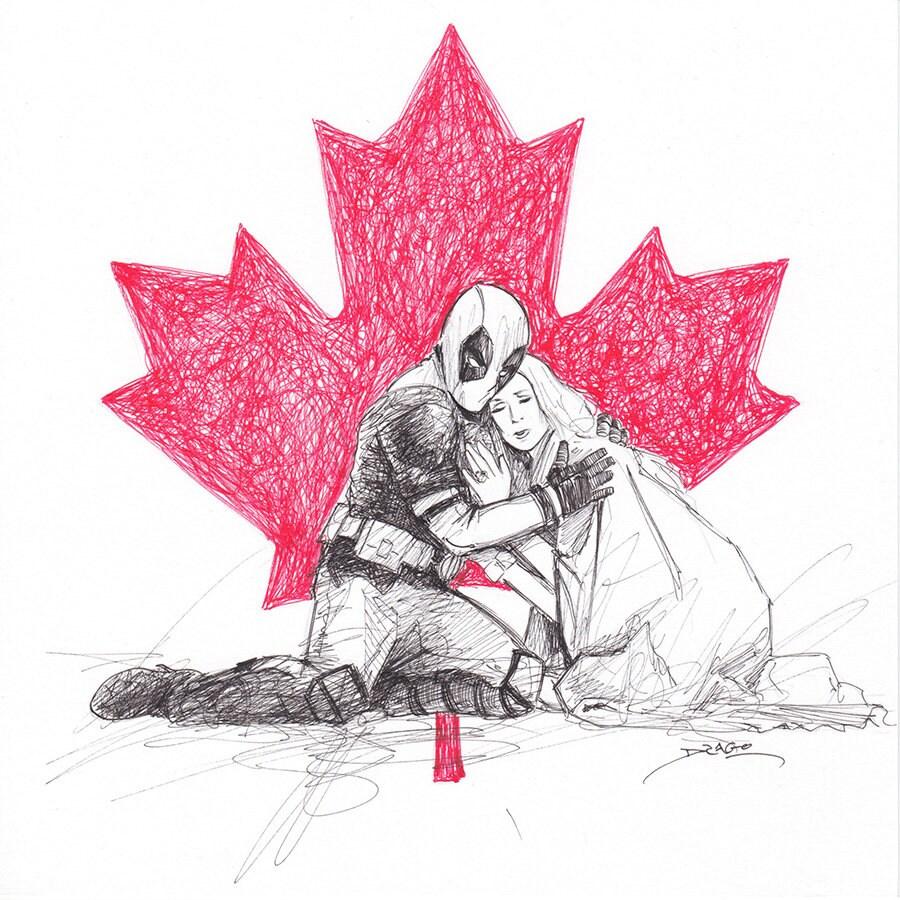 Deadpool & Céline Dion Doodle ORIGINAL DRAWING