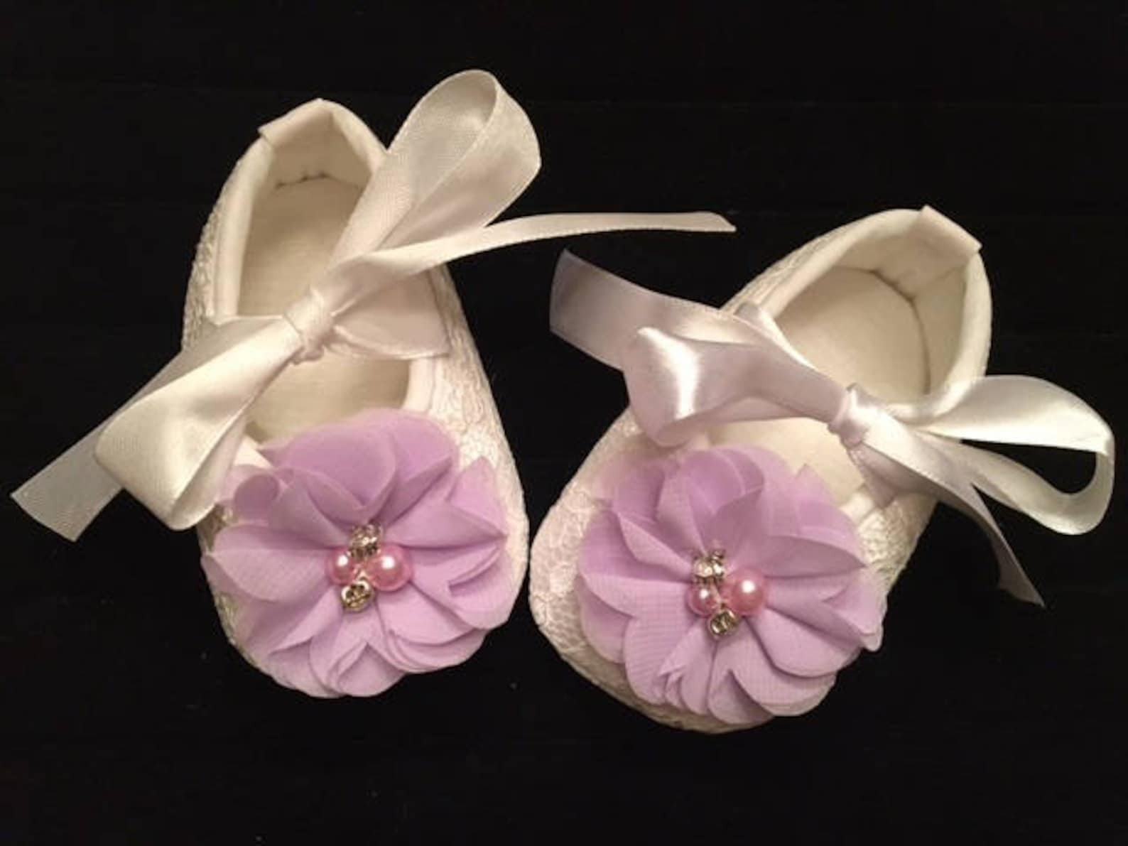 white lace baby shoes with lavender flower accent - lilac flower girl baby shoes - baby dress christmas shoes - baby ballet slip