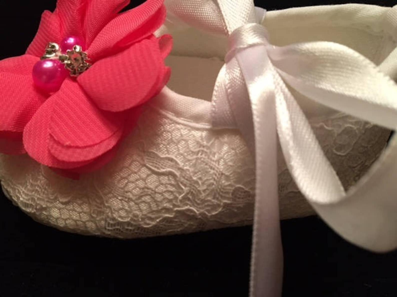 white lace baby shoes with hot pink flower - baby flower girl baby shoes - baby dress christmas shoes - baby ballet slippers