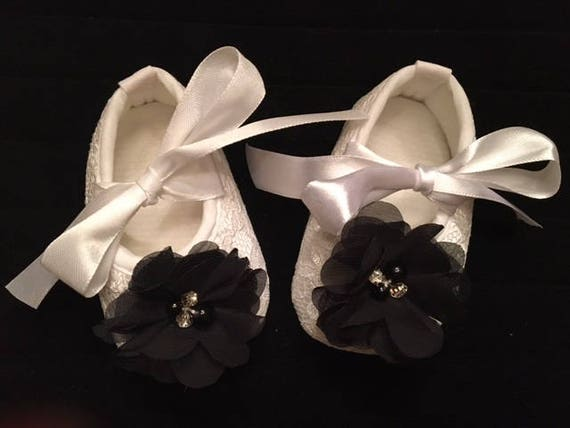 White Lace Baby Shoes with Black Flower