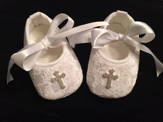 White Lace Baby Christening Shoes Baby