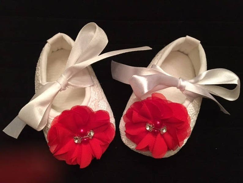 550ff00660872 White Lace Baby Shoes with Red Flower - Baby Flower Girl Baby Shoes - Baby  Dress Shoes - Baby Girl Christmas Shoes - Baby Ballet Slippers