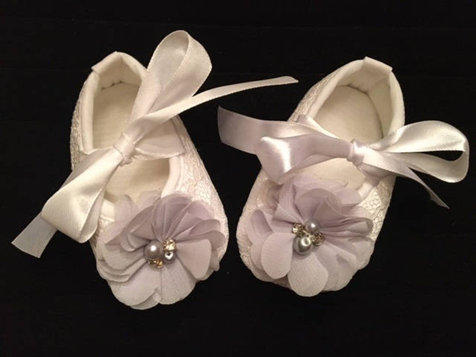 white lace baby shoes with gray flower accent - grey baby flower girl shoes - baby dress christmas shoes - baby ballet slippers
