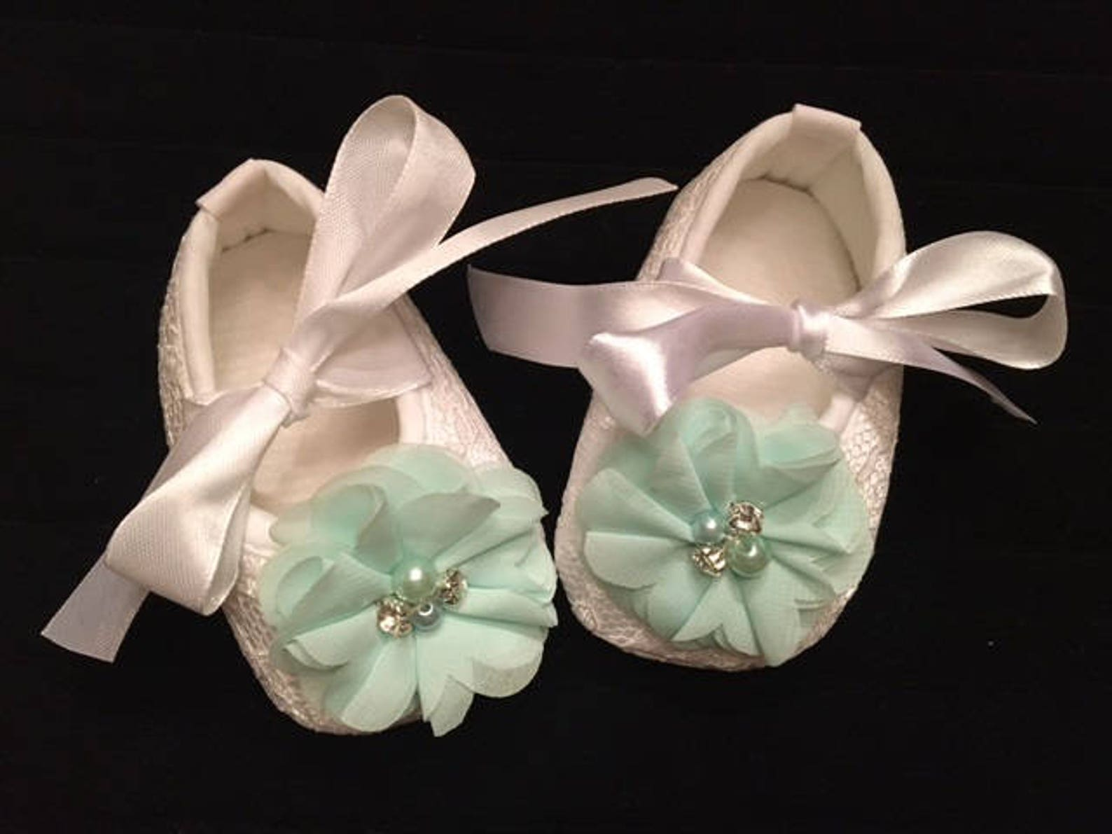 white lace baby shoes with mint green flower - baby flower girl baby shoes - baby dress christmas shoes - baby ballet slippers