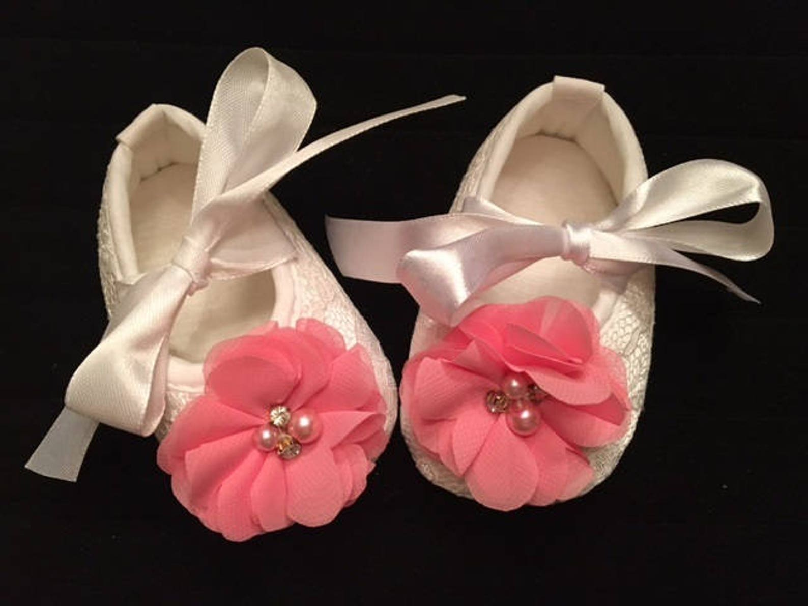 white lace baby shoes with pink flower accent - baby flower girl shoes - baby dress christmas shoes - baby ballet slippers