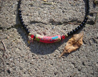 Black and red polymer choker