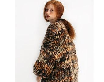 Chunky knit cardigan women Multicolor sweater coat merino wool