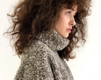 4d49faadfb33 Gray large turtleneck sweater of boucle wool