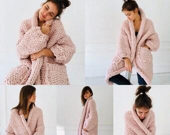 Thick wool long cardigan Pink Chunky sweater coat Merino cardigan women S/L size