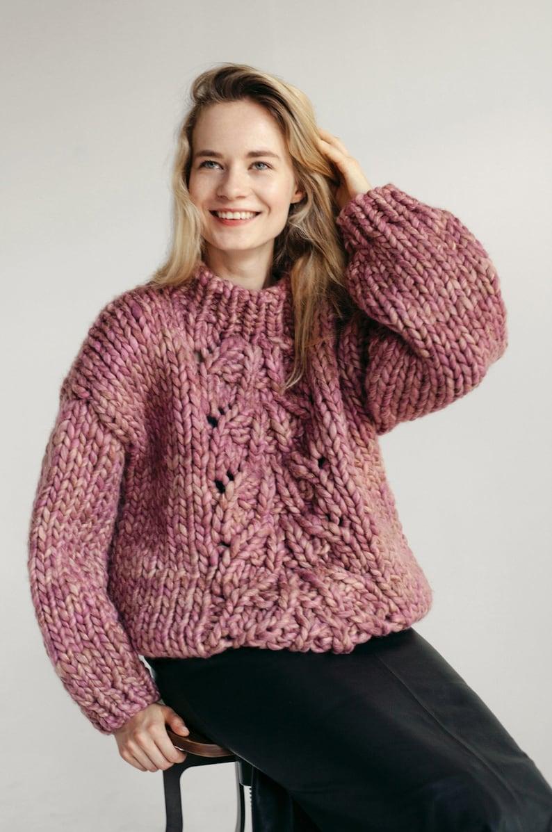 Maglia in lana merino grossa con maglia antica rosa cavo  24c02292786