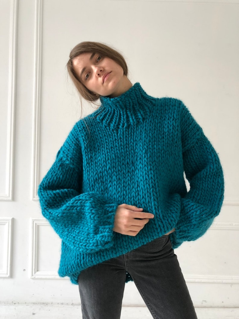 4a8f4846491d Teal turtleneck sweater loose knit Long knitted sweater