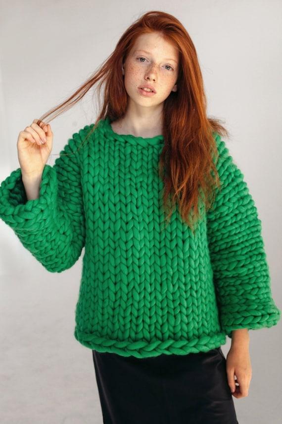 Vert gros pull tricoté à la main pull en laine mérinos pour   Etsy 6cdf6cf5e91