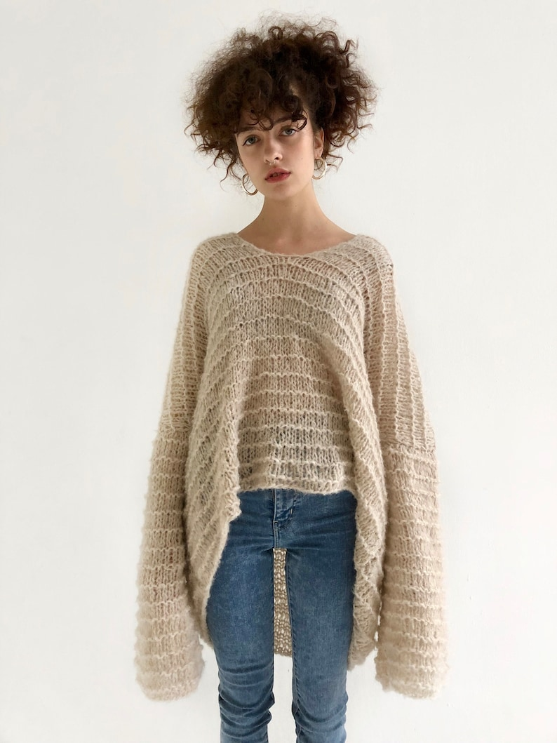 87fcf8ca Alpaca loose knit sweater with hood, hand knitted womens jumper in light  beige