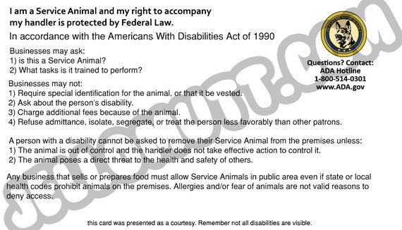 photograph relating to Printable Ada Service Dog Card named Electronic Obtain, Printable Assistance Pet Legislation Card, ADA Card, Golden Retriever, Information Card