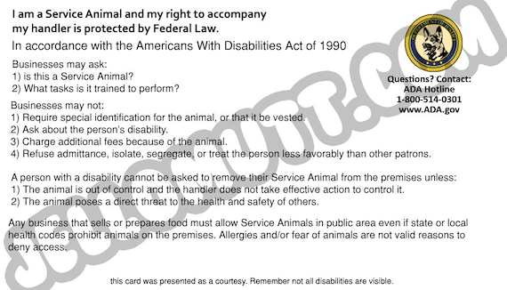 image regarding Printable Ada Service Dog Card named Electronic Obtain, Printable Services Doggy Legislation Card, ADA Card, Golden Retriever, Data Card