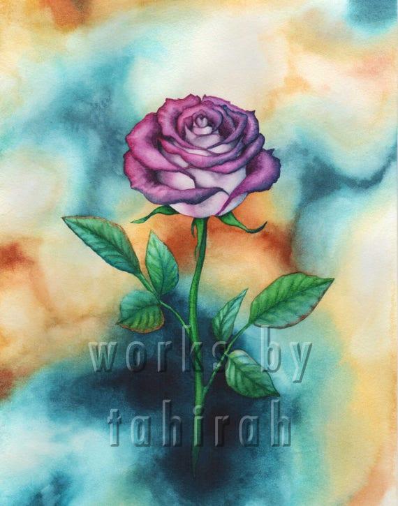 Beautiful Flower Art Print - Botanical Rose Watercolor Art Prints Floral  Wall Decor Home Decor - Purple, Green