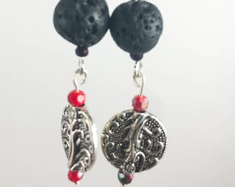 Aromatherapy Earrings w/ Lava Stone, Czech Glass Silver Plated Charm w/ Essential Oil - Sterling Silver