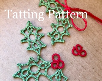 PDF Tatting Pattern - Holly Leaves and Berries