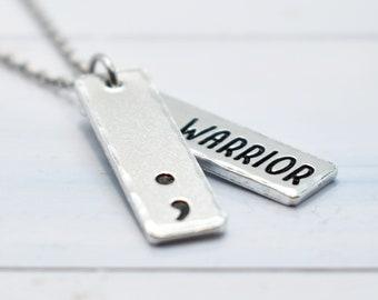 Warrior Necklace, Semi Colon Jewellery, Mental Health Awareness Necklace