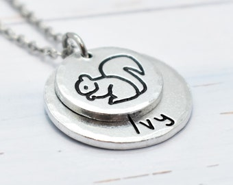 Squirrel necklace,  Personalised. Pet lovers or Memorial Necklace