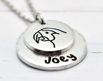 Parrot Necklace,  Personalised. Pet lovers or Memorial Necklace