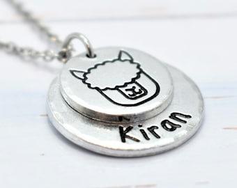 Alpaca, Llama Necklace, Personalised. Pet lovers or Memorial Necklace