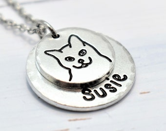 Cat Necklace, Personalised. Pet lovers or Memorial Necklace