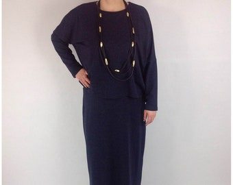 Smart Long Dress and Overtop In Navy Blue OneSize 14 16 18 20