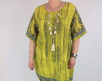 47638508127 Lagenlook Cotton Tunic Dress Printed Pattern Size 10 12 14 16 18 in Mustard