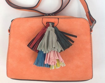 Cross Body Small Bag With Tassels In Orange
