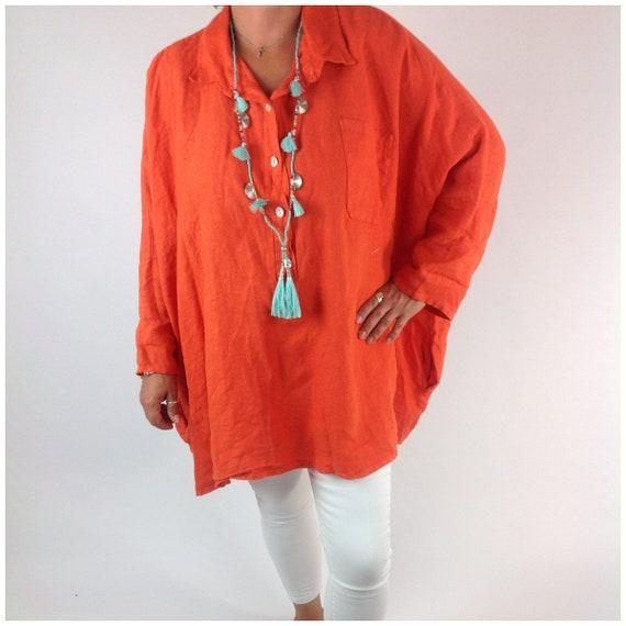 c1f12ea7f8b Lagenlook Premium Linen Ladies Shirt Top Tunic Over Top Poncho Style Plus  Size 20 22 24 26 28 30 32 In Orange