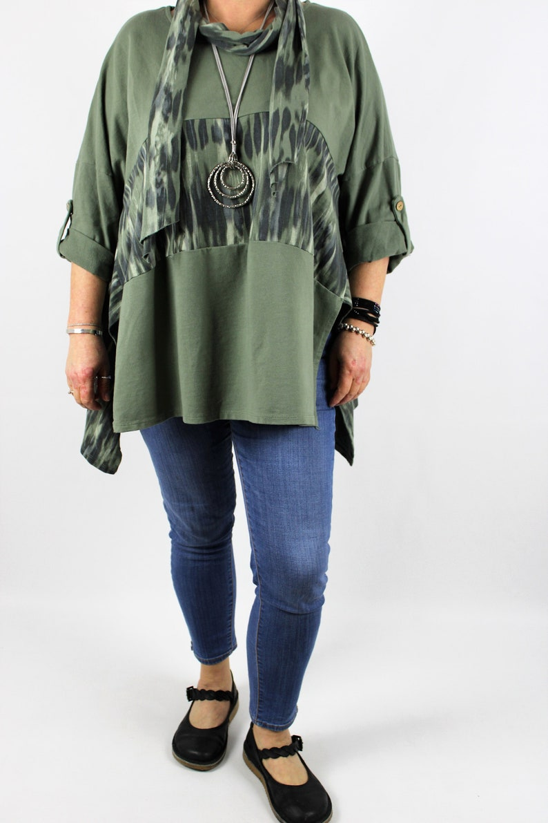 Lagenlook Made in Italy Cotton Two Piece Top Tunic Size 14 16 18 20 22 24 in Khaki