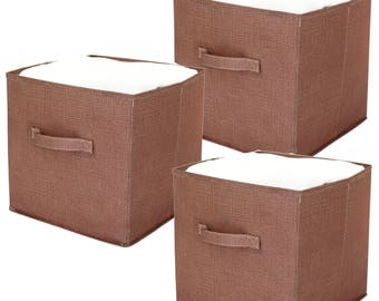 Cubby Storage Cube   SET OF 3   Brown Storage Closet Cube Collapsible Small  Space Storage
