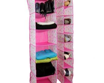 Pink floral closet organizer